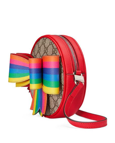 Girls' Circle GG Supreme Crossbody Bag w/ Rainbow Bow