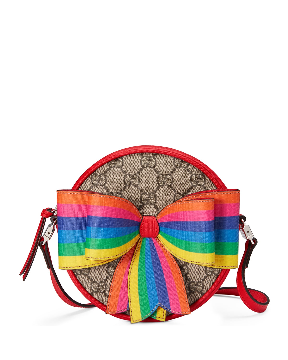 S Circle Gg Supreme Crossbody Bag W Rainbow Bow