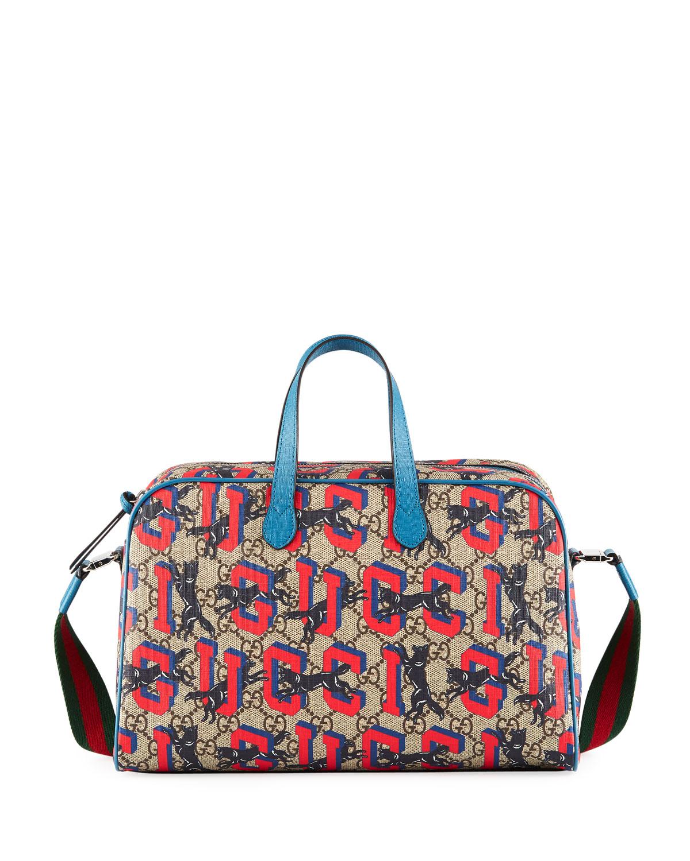 c102db51d758 Gucci Kids' Wolves-Print GG Supreme Shoulder Bag | Neiman Marcus