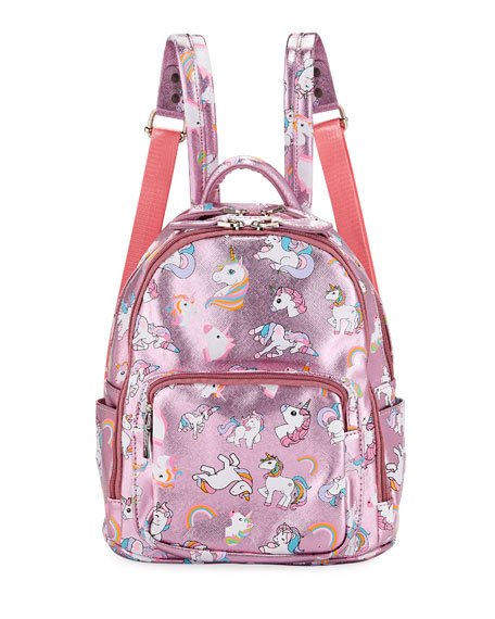 Bari Lynn Girls' Metallic Faux-Leather Unicorn Mini Backpack