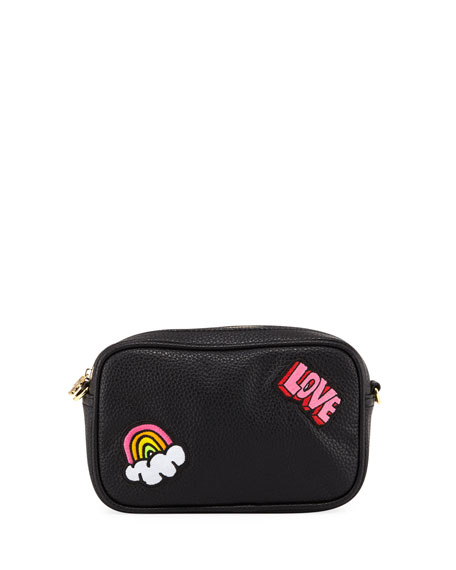 Pebbled Faux-Leather Patches Camera Bag, Black