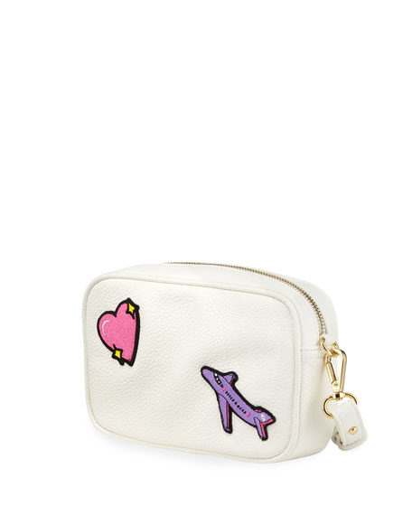Pebbled Faux-Leather Patches Camera Bag, White