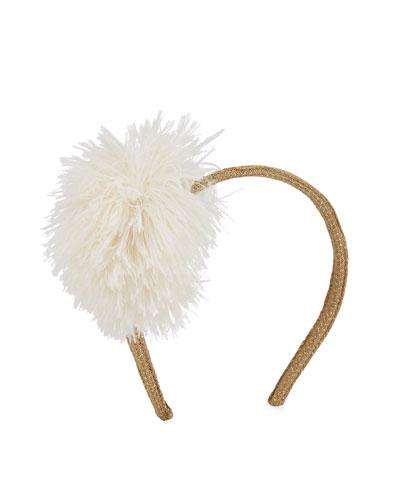 Girls' Glittered Headband w/ Faux Fur Pompom