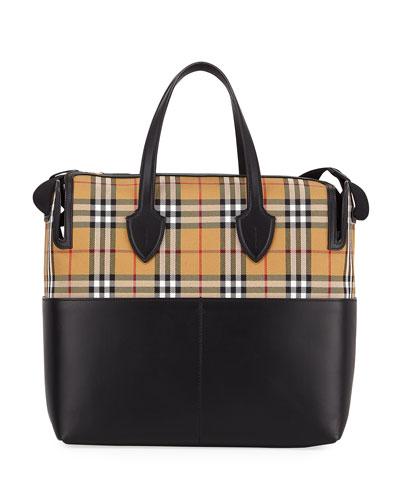 Kingswood Vintage Check & Leather Diaper Bag
