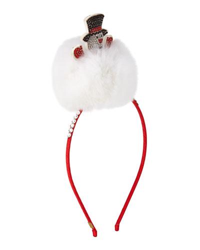 Girls' Crystal Snowman Headband w/ Fur Trim