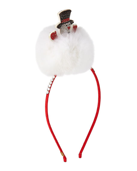 Bari Lynn Girls' Crystal Snowman Headband w/ Fur