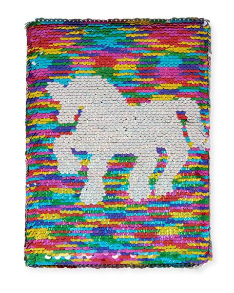 Bari Lynn Rainbow Unicorn Flip Sequin Journal