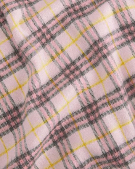 Burberry Merino Wool Fringe Check Baby Blanket