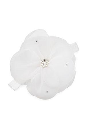 Bari Lynn Baby's Crystal Embellished Sheer Flower Elastic Headband