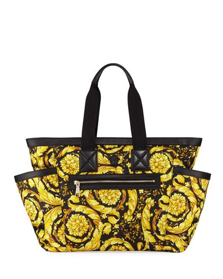 Versace Canvas Barocco-Print Diaper Bag