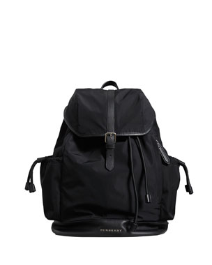 fa185fdbad31 Burberry Watson Flap-Top Diaper Bag Backpack, Black