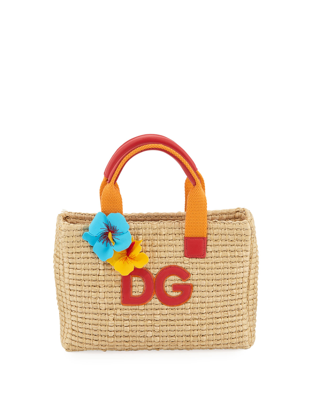 ca0dc71f05e0 Dolce   Gabbana Kids  Mare Woven Straw Top-Handle Bag