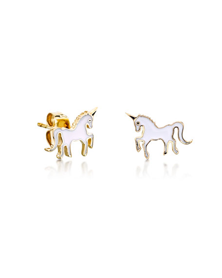 Sydney Evan Girls' Gold Unicorn Enamel Stud Earrings