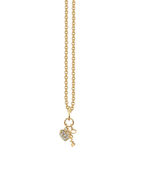 Sydney Evan Love Duo Charm Necklace w/ Diamonds, Youth 7-14