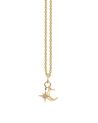 Celestial Duo Charm Necklace w/ Diamonds  Youth 7-14