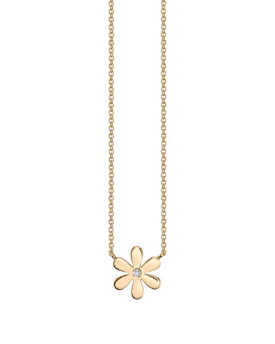 14k Yellow Gold Single Daisy Charm Necklace  Youth 7-14
