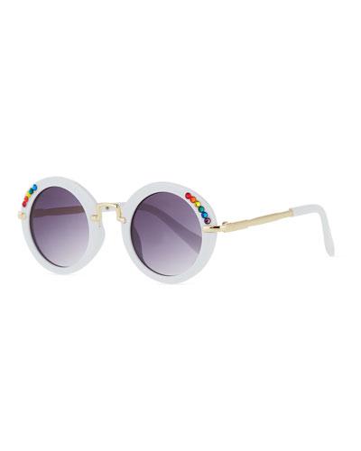 Kids' Round Sunglasses w/ Rainbow Swarovski Crystals