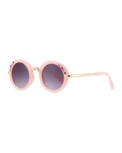 Kids' Round Sunglasses w/ Swarovski Crystals