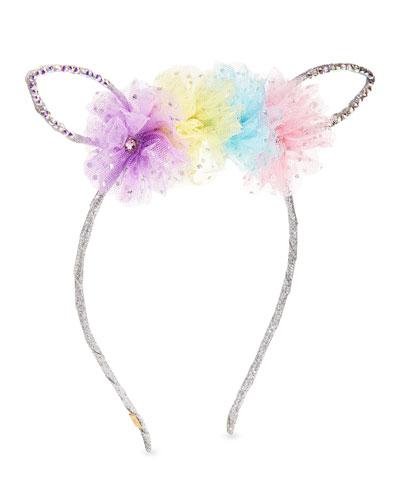 Girls' Bunny Ear Headband w/ Multicolored Tulle Trim