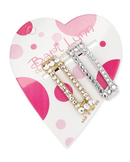 Bari Lynn Silver & Gold Crystal Hair Clip Set