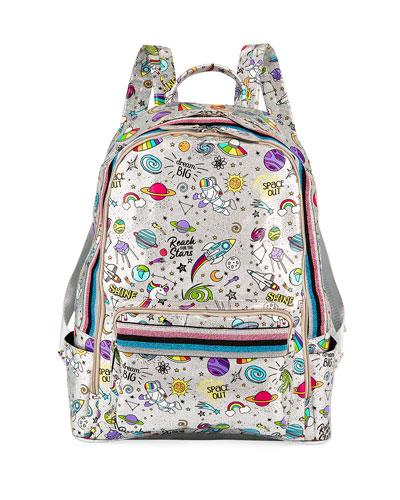 Kid's Galaxy Print Shimmer Backpack