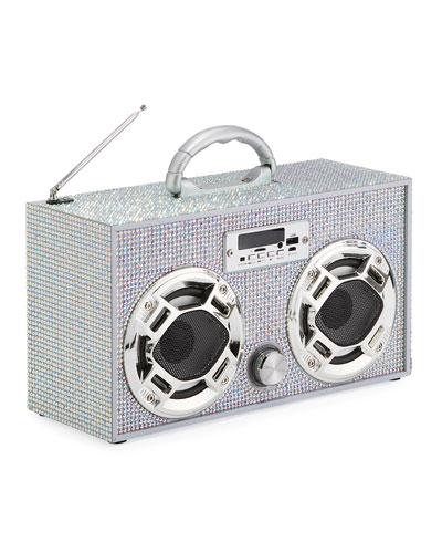 Retro Mini Bling Boombox w/ LED Dancing Speaker
