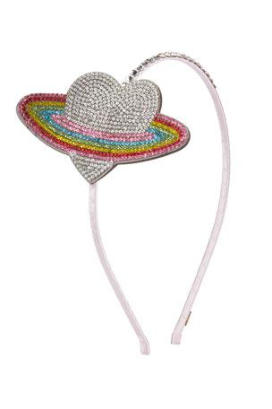 Bari Lynn Girl's Crystal Heart Galaxy Headband