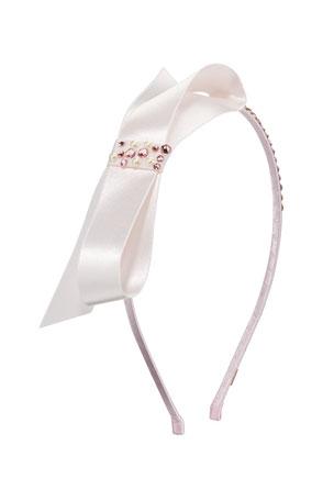 Bari Lynn Girl's Satin Bow Headband w/ Crystal Trim