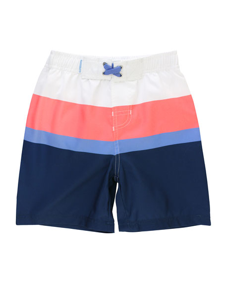 RuffleButts Boy's Rash Guard w/ Colorblock Swim Trunks, Size 3M-5