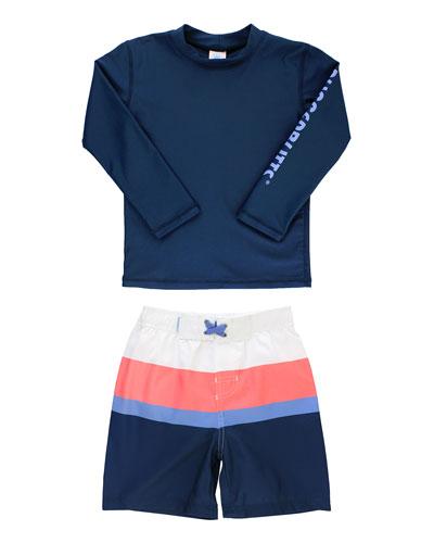 Boy's Rash Guard w/ Colorblock Swim Trunks  Size 3M-5