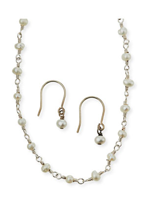 Helena Girl's Pearl Sterling Wire Necklace w/ Matching Drop Earrings Set