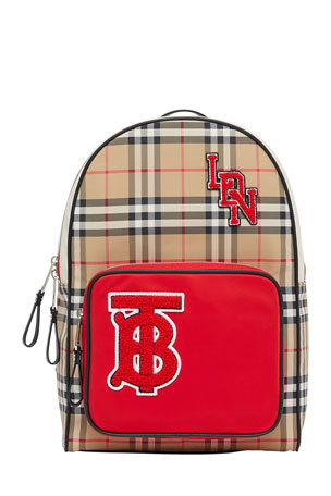 Burberry Kid's Taylor Check Backpack w/ Patches