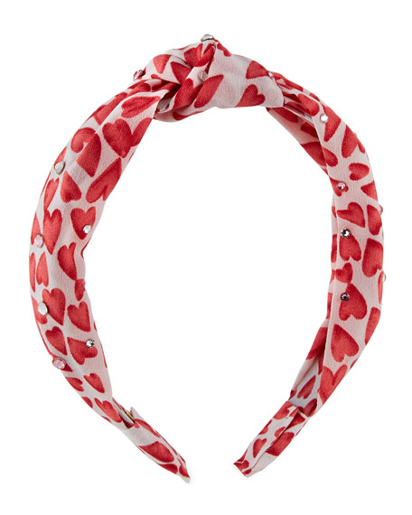 Image 1 of 3: Bari Lynn Girl's Heart Knot Headband w/ Swarovski Crystals