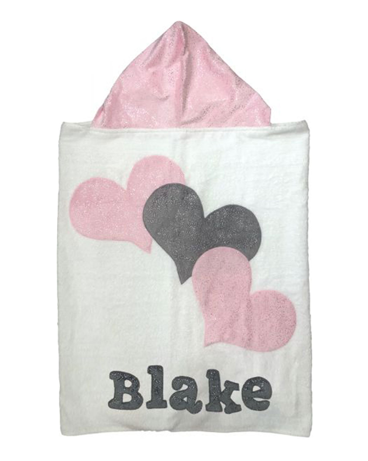 Boogie Baby Personalized Triple Hearts Hooded Towel