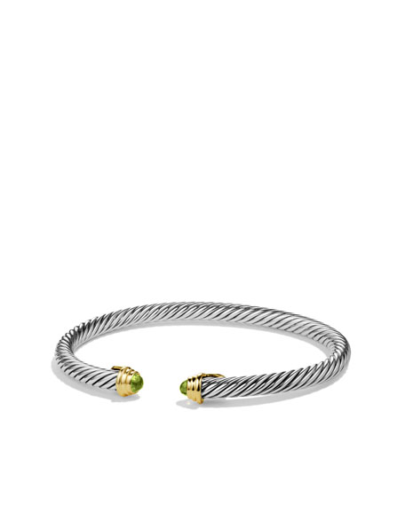 Cable Kids August Birthstone Small Bracelet with Peridot and Gold