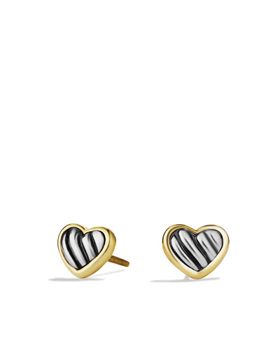 David Yurman Cable Kids Heart Earrings with Gold