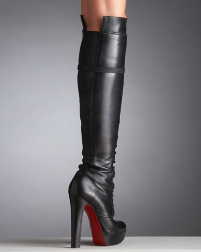 christian louboutin lace-up booties