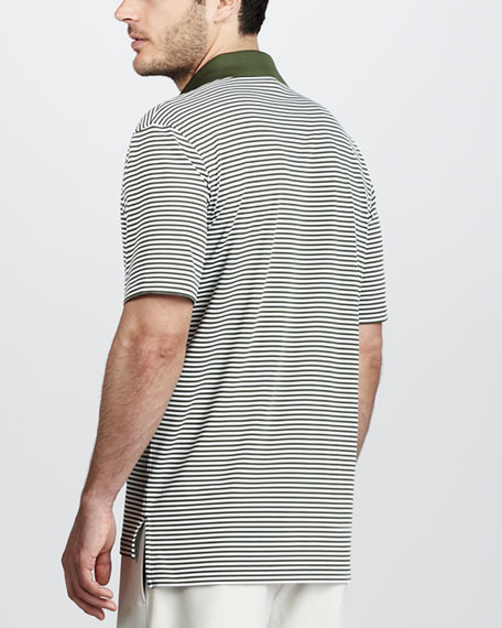 Striped Jersey Polo, Black