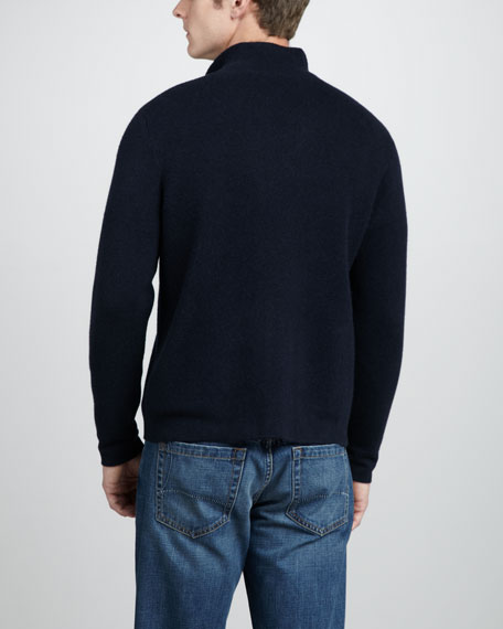 Cashmere Zip Cardigan, New Pirate