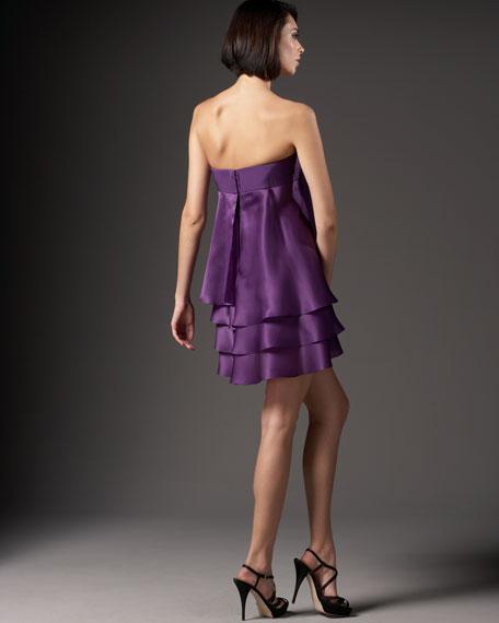 Strapless Flower Short Dress