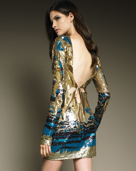 Sequined Open-Back Dress