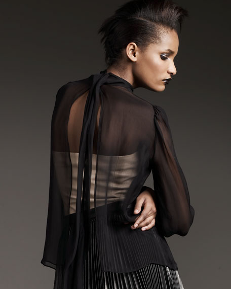 Sheer Tie-Back Blouse