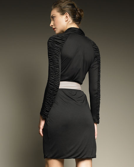 Ruched Long-Sleeve Dress