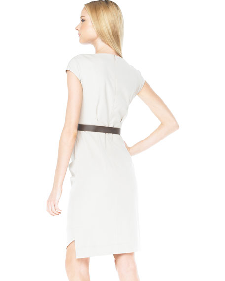 Belted Drape Dress, Taupe