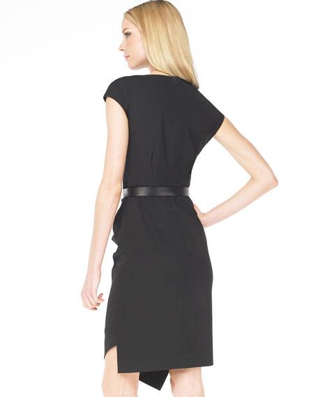 Belted Drape Dress, Black