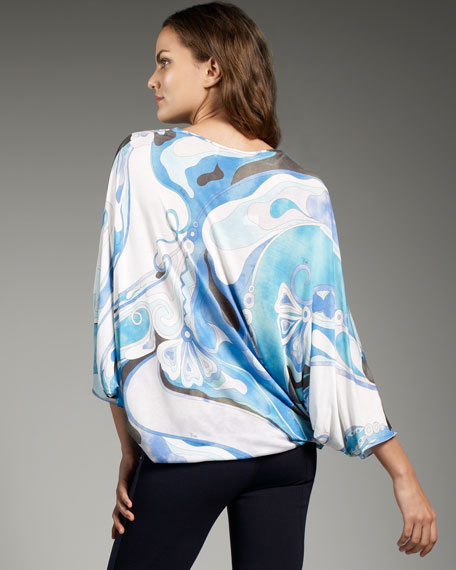 Orchid-Print Jersey Poncho