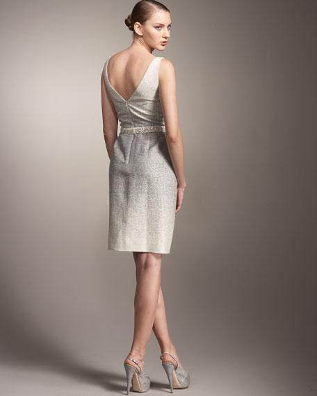 Beaded-Belt Ombre Dress