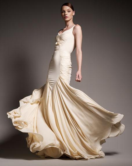 Pleated Mermaid Gown