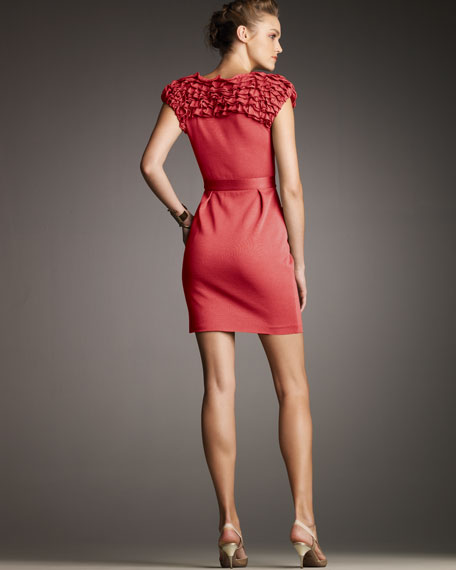 Ruffle-Top Knit Silk Dress