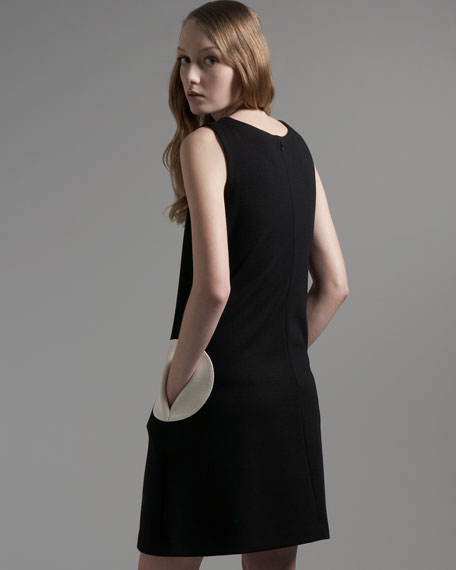 Jersey Circle-Pocket Dress, Black/Cream